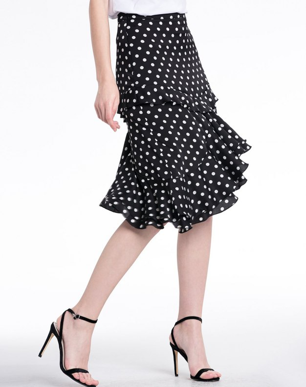 White 3/4 Length Women's Peplum Skirt