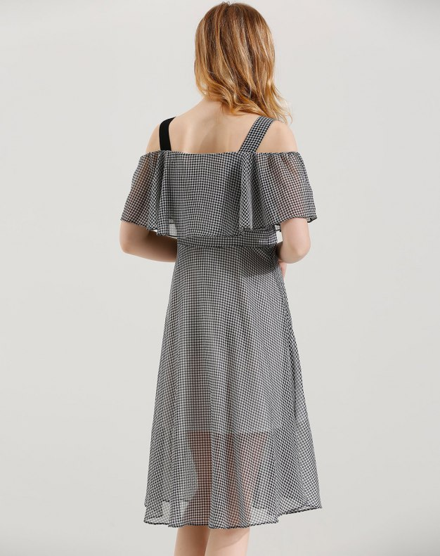 White Off Neckline High Waist 3/4 Length Shaped Women's Dress