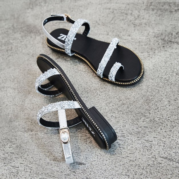 Silver Sets Of Toe Flat Anti Skidding Women's Sandals