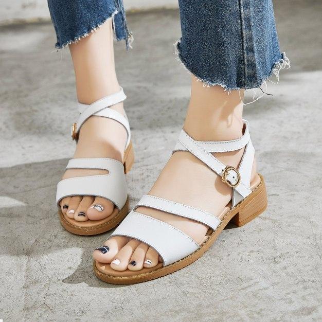 White Middle Heel Anti Skidding Women's Sandals