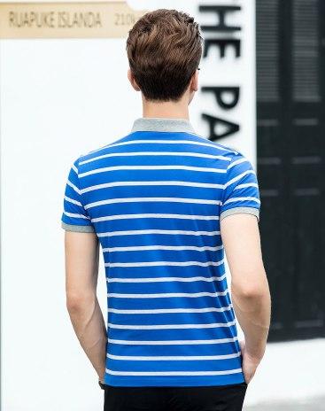 Stripes Polo Neck Short Sleeve Standard Men's T-Shirt