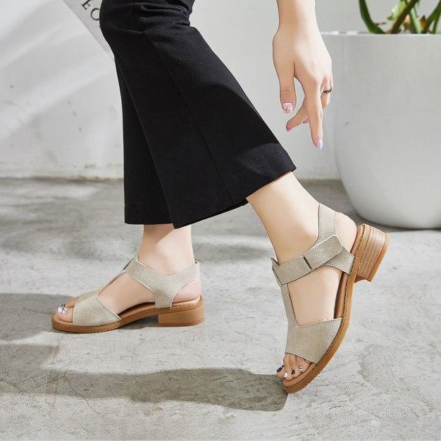 Beige Middle Heel Anti Skidding Women's Sandals