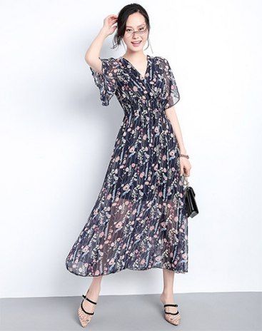 Colourful V Neck  High Waist 3/4 Length A Line  Women's Dress