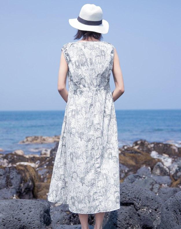 Colourful Round Neck Sleeveless Long Standard Women's Dress