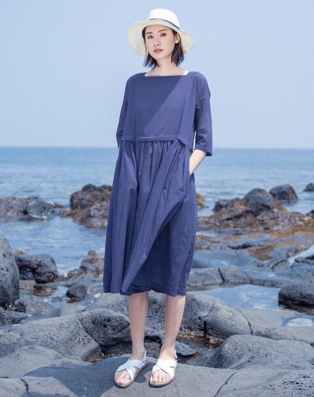 Blue Square Neck Half Sleeve 3/4 Length Standard Women's Dress
