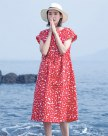 Red Round Neck Short Sleeve Long Fitted Women's Dress