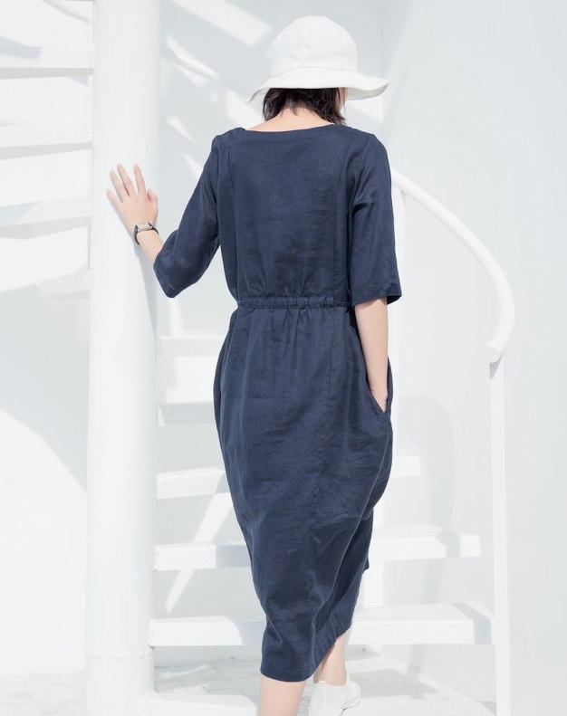 Indigo Round Neck Half Sleeve Long Standard Women's Dress