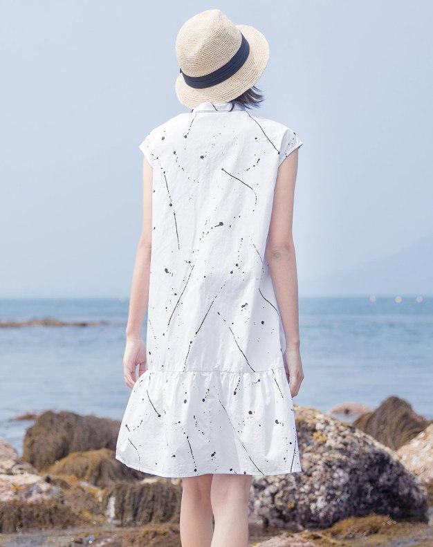 White Shirt Collar Short Sleeve 3/4 Length Women's Dress