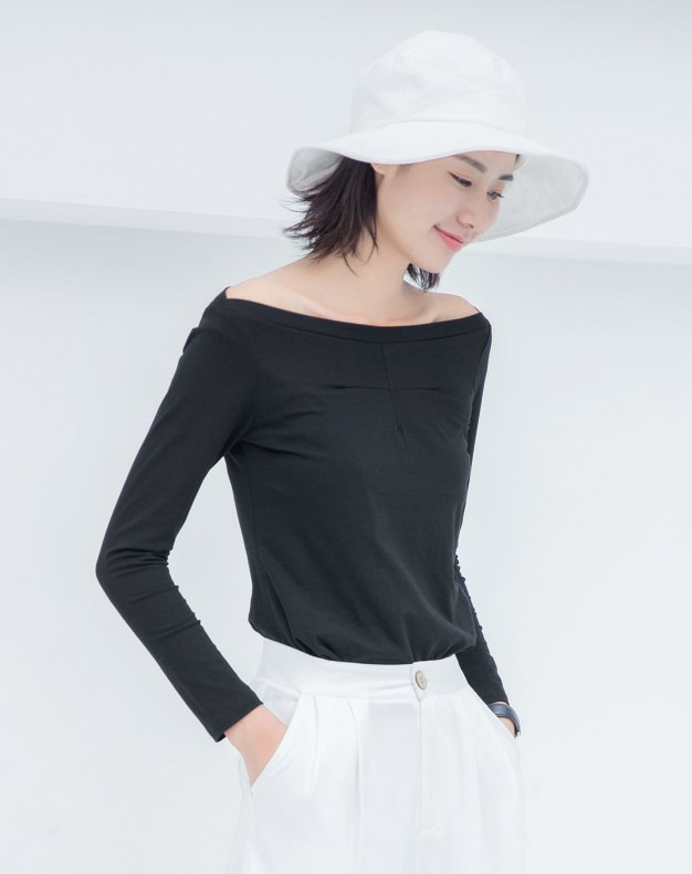 Black Plain Off Neckline Long Sleeve Fitted Women's T-Shirt