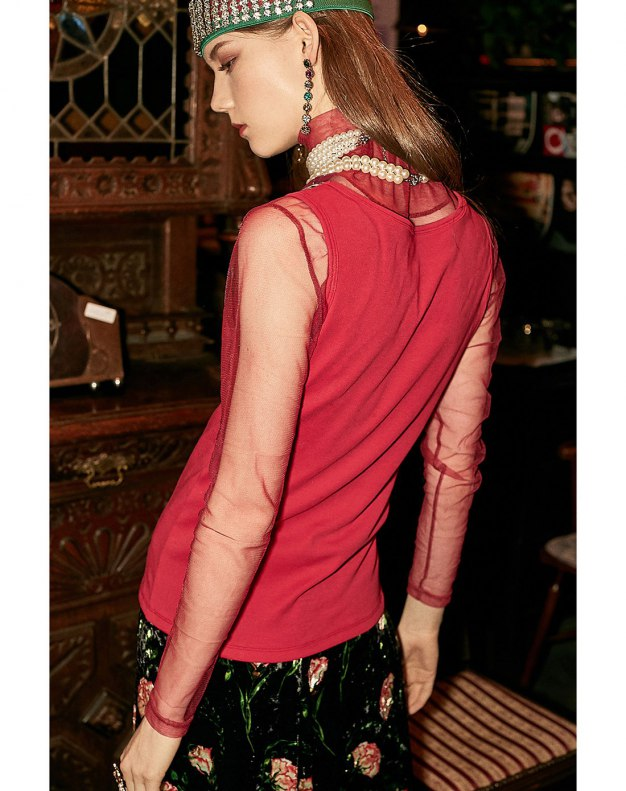 Red V Neck Fitted Women's Cami