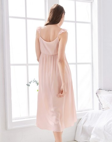 핑크 폴리에스테르 반팔 티셔츠 여성 잠옷