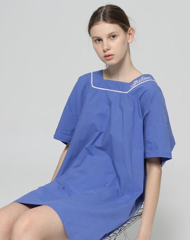 Blue Short Sleeve 3/4 Length Women's Dress