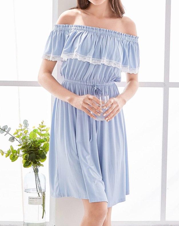 블루 스판덱스 민소매 여성 잠옷
