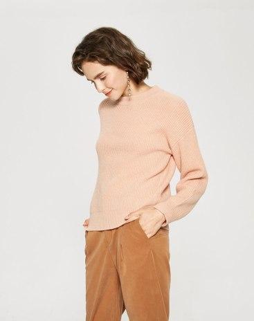 Round Neck Elastic Long Sleeve Standard Women's Sweater