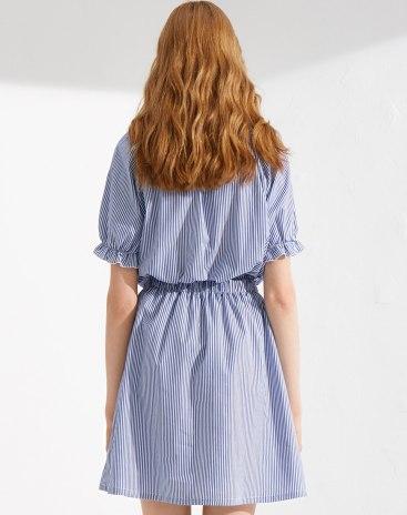 Blue Short Sleeve Standard Women's Dress