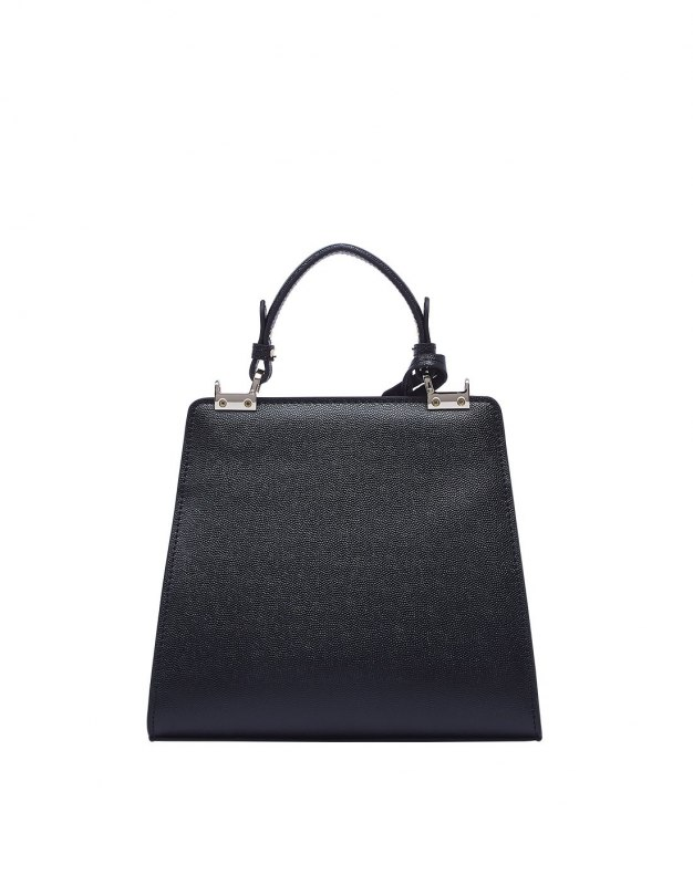 Black Plain Cowhide Leather Medium Women's Crossbody Bag