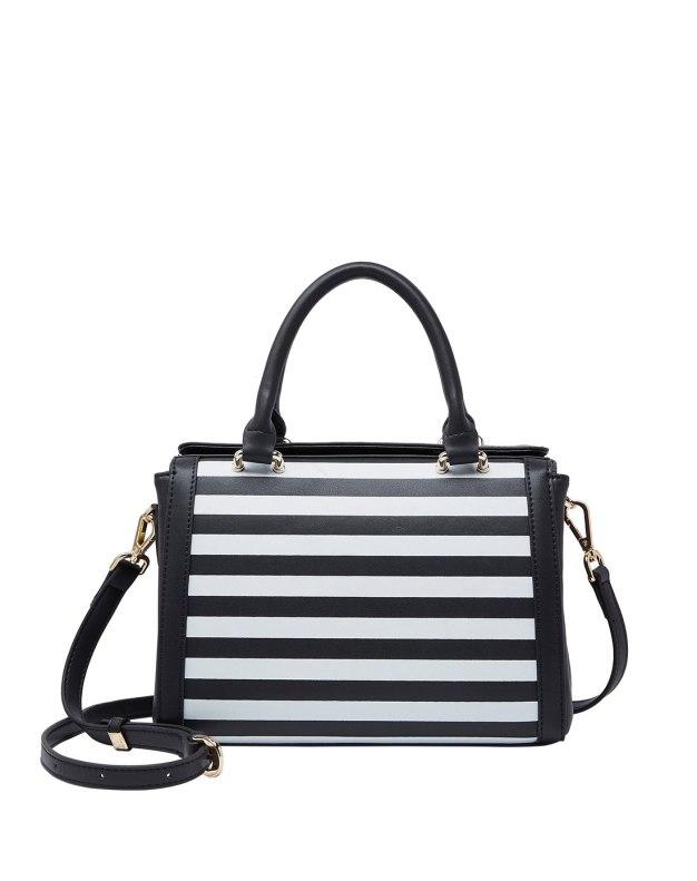 Black Stripes Cowhide Leather Women's Shoulder Bag
