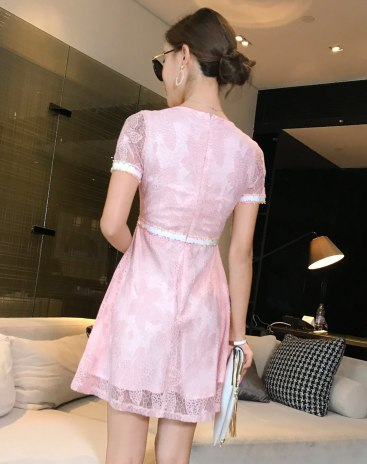 Pink Round Neck 3/4 Length A Line Fitted Women's Dress