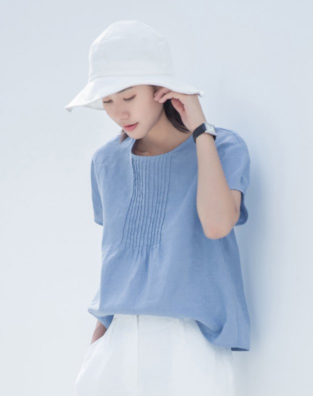 Blue Plain Round Neck Short Sleeve Fitted Women's T-Shirt