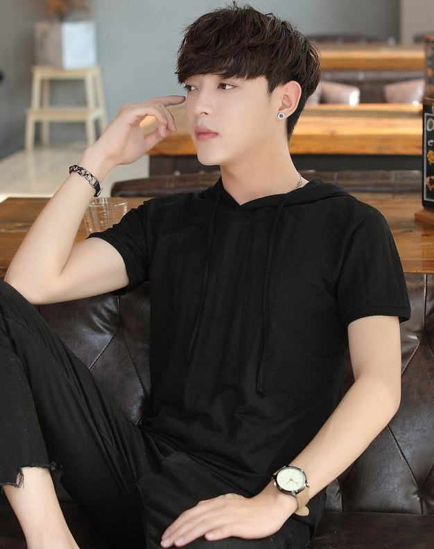 Black Round Neck Short Sleeve Loose Men's T-Shirt