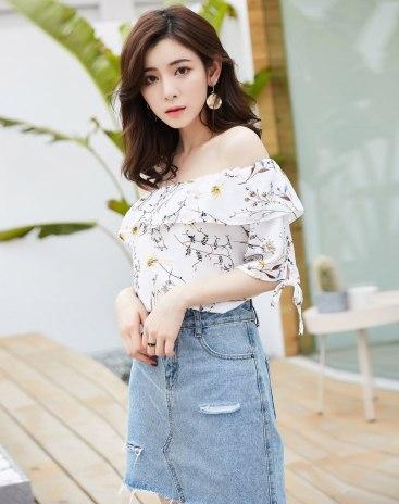 White Floral Off Neckline Loose Women's Shirt