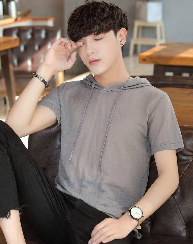 Gray Round Neck Short Sleeve Loose Men's T-Shirt