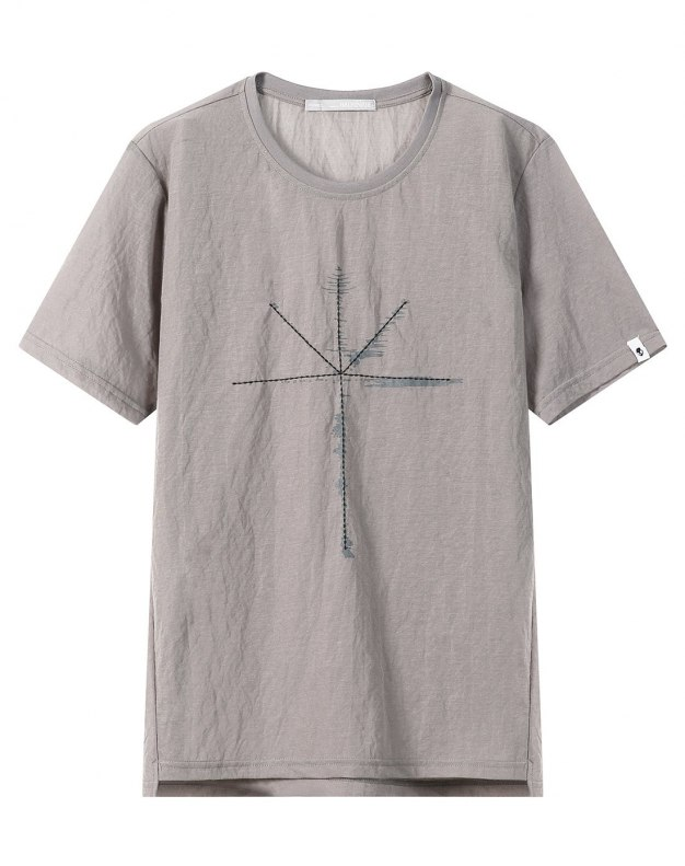 Gray Round Neck Short Sleeve Men's T-Shirt