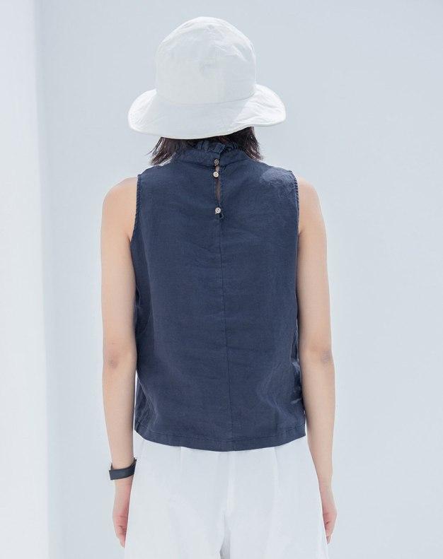 Indigo Plain Sleeveless Fitted Women's Shirt