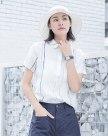 White Print Shirt Collar Short Sleeve Fitted Women's Shirt
