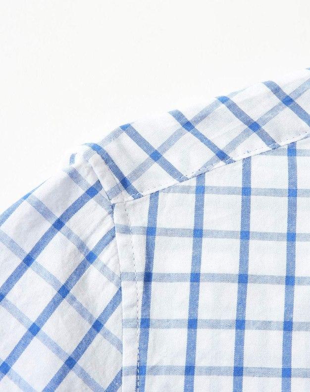Blue Stripes Square Neck Short Sleeve Men's Shirt
