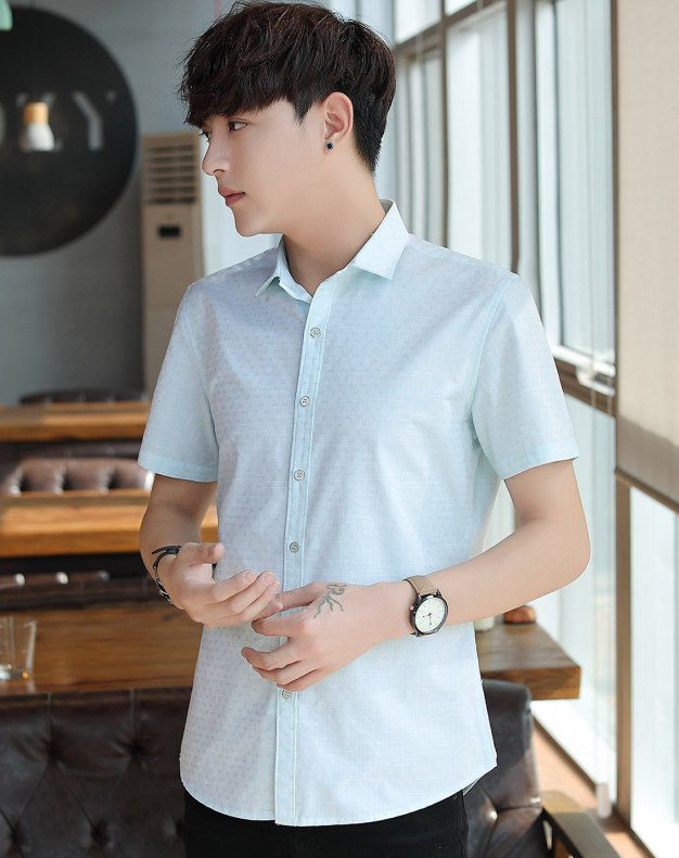 Blue Embroidery Pointed Collar Short Sleeve Fitted Men's Shirt