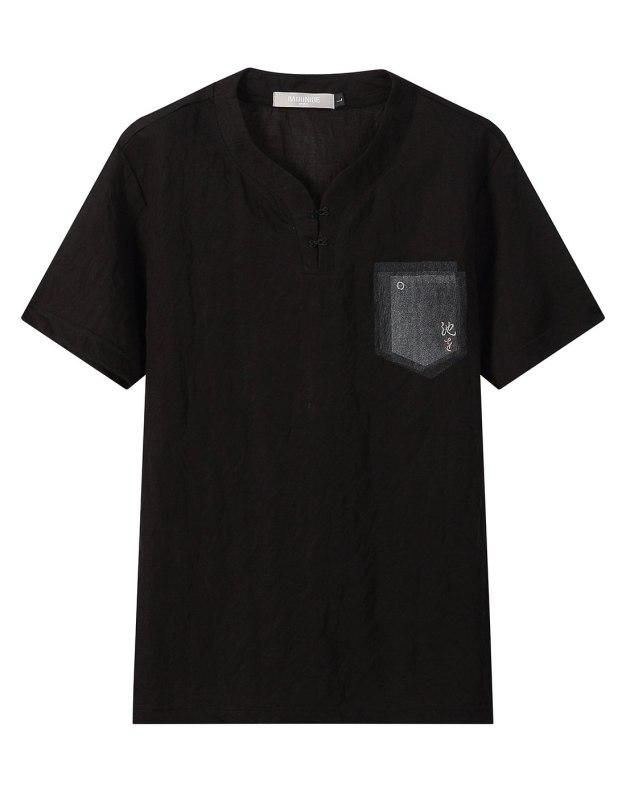 Black Plain Round Neck Short Sleeve Men's T-Shirt
