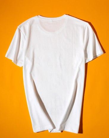 White Print Round Neck Short Sleeve Standard Men's T-Shirt