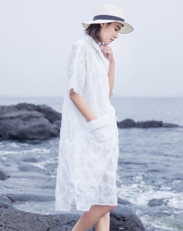 White Shirt Collar Half Sleeve 3/4 Length Women's Dress