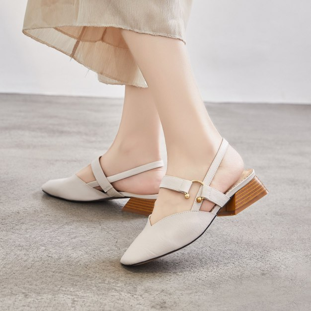 Beige Square Toe Middle Heel Wear-Resistant Women's Sandals
