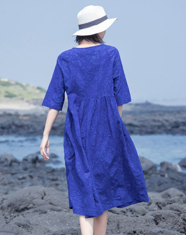 Blue Round Neck Half Sleeve Long Standard Women's Dress