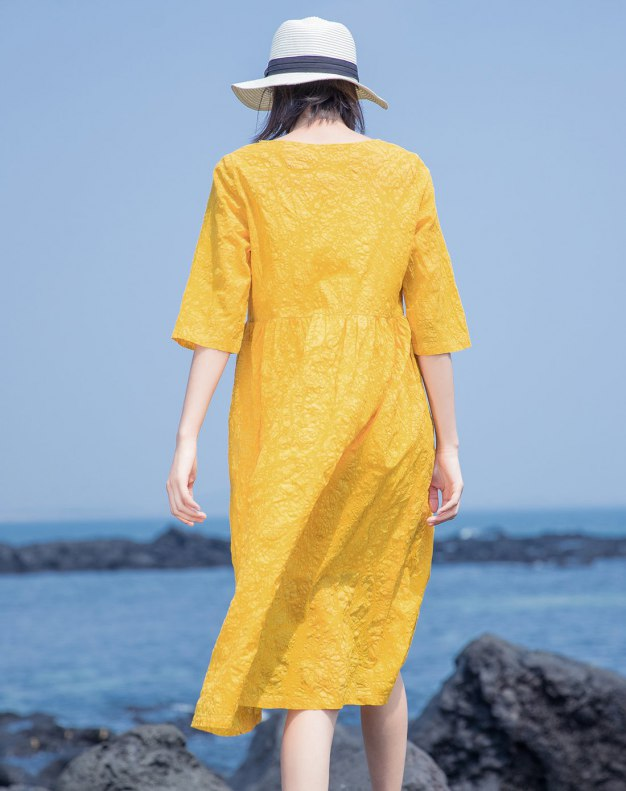 Yellow Round Neck Half Sleeve Long Standard Women's Dress