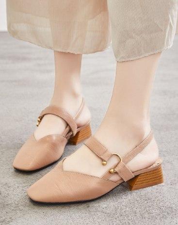 Brown Square Toe Middle Heel Wear-Resistant Women's Sandals