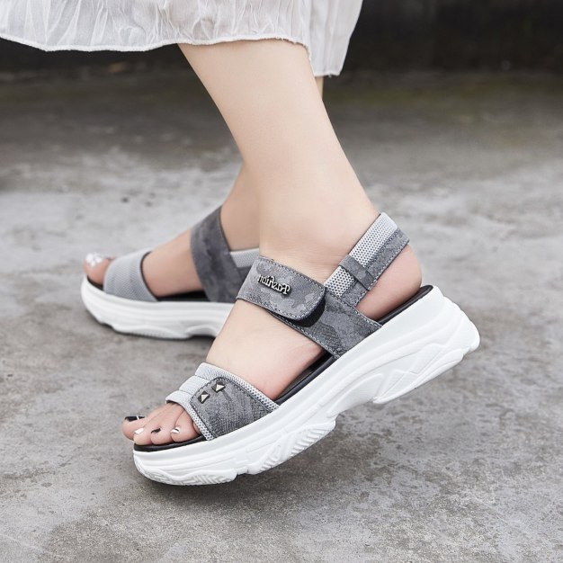 Gray Flat Portable Women's Sandals