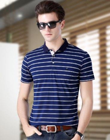 Stripes Lapel Short Sleeve Standard Men's Polo