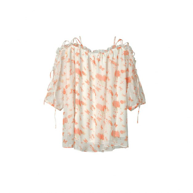 Floral Off Neckline Elastic Half Sleeve Loose Women's Shirt