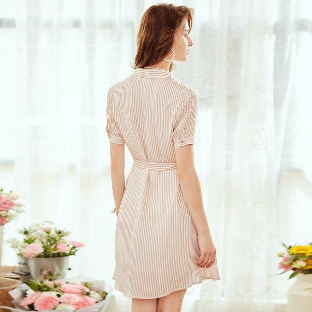 Shirt Collar Short Sleeve 3/4 Length Shaped Women's Dress