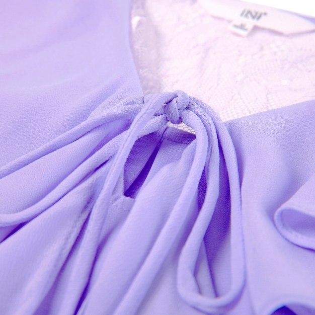 Purple Plain Strappy Neck Elastic Half Sleeve Women's Shirt