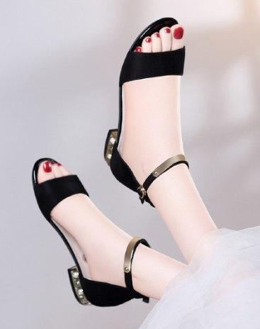 Black Low Heel Women's Sandals