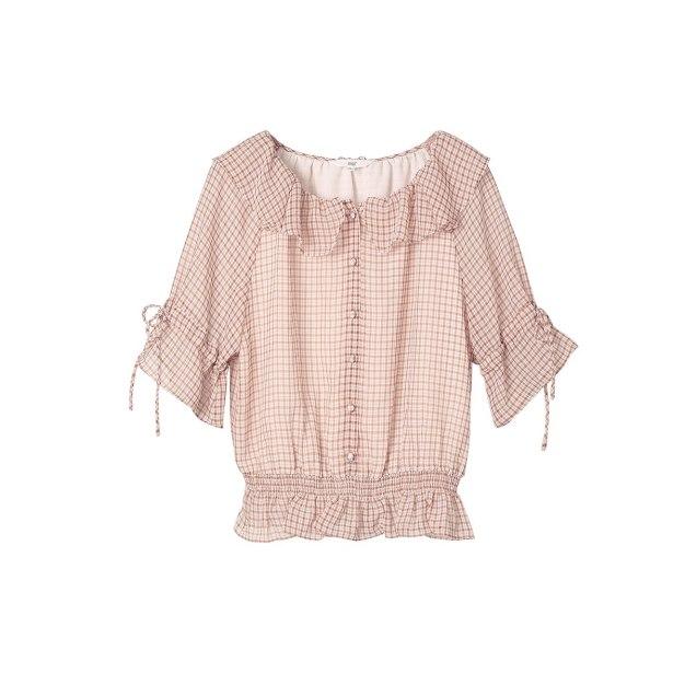 Round Neck Elastic Half Sleeve Loose Women's Shirt