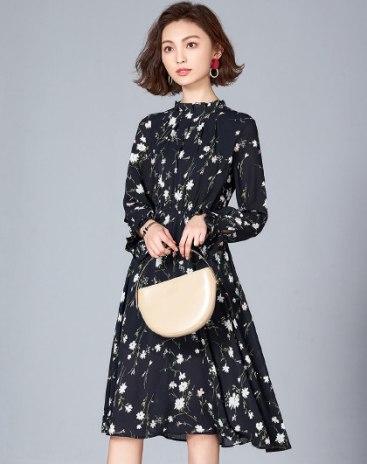 Indigo Stand Collar Long Sleeve A Line Women's Dress