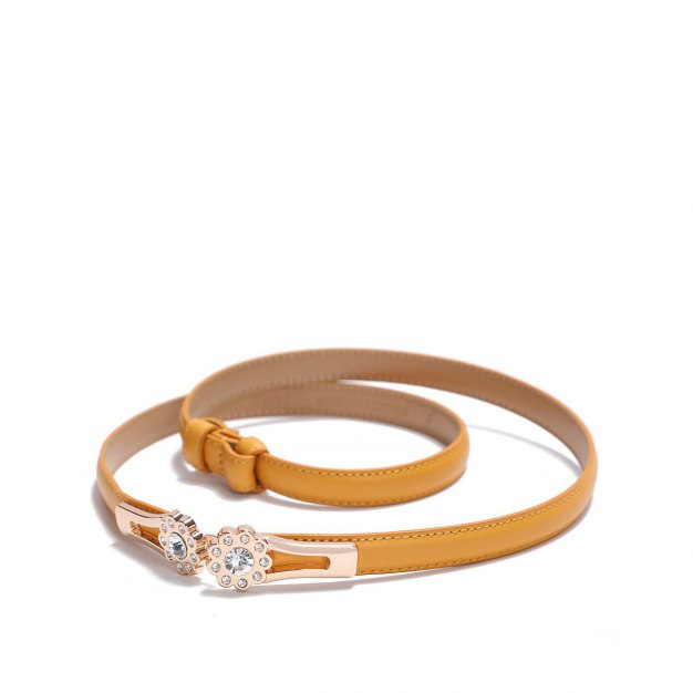 Yellow Glossy Two Plies Cowhide Belt