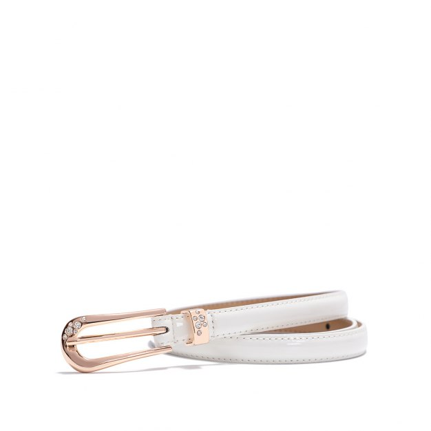 White Glossy Two Plies Cowhide Belt