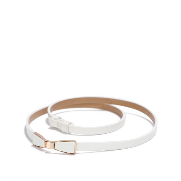 White Patent Leather Two Plies Cowhide Belt