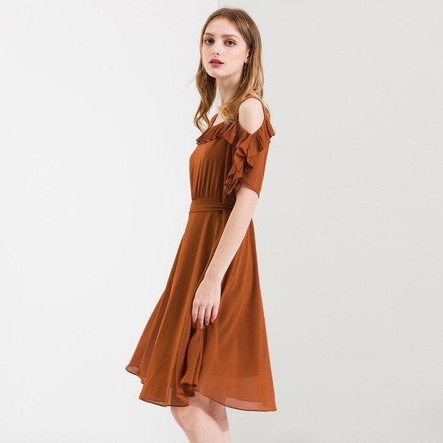 Square Neck Short Sleeve 3/4 Length Shaped Women's Dress